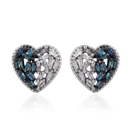 Blue and White Diamond (Bgt) Stud Heart Earrings (with Push Back) in Platinum Overlay Sterling Silver 0.200 Ct.