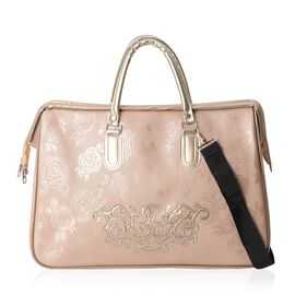 Light Pink Colour Travel Bag with Detachable Shoulder Strap and Zipper Closure (Size 46x31x21 Cm)