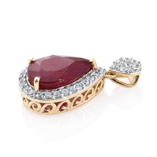 9K Yellow Gold AAA African Ruby (Pear 7.10 Ct), Natural Cambodian Zircon Drop Pendant 7.750 Ct.