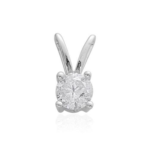 9K White Gold SGL Certified Diamond (Rnd) (I3 G-H) Solitaire Pendant 0.500 Ct.