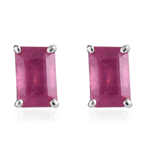 WEBEX-  9K White Gold AA African Ruby (Oct) Solitaire Earrings (with Push Back) 1.75 Ct.