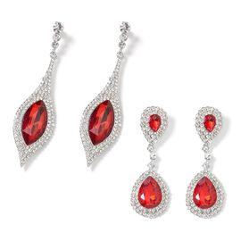 Set of  2 - Simulated Red Garnet (Mrq 27x13 mm), White Austrian Crystal Dangle Earrings (with Push B
