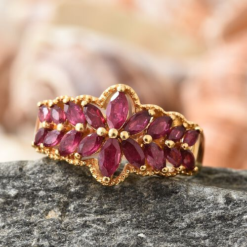 African Ruby (Mrq) Ring in 14K Gold Overlay Sterling Silver 3.000 Ct.