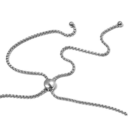 Set of 2- Stainless Steel Adjustable Necklace (Size 16 to 30) and Bracelet (Size 6.5 to 10.50).