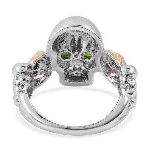 Designer Inspired - Russian Diopside (Rnd) Skull Ring in Platinum and Gold Overlay Sterling Silver. Silver wt 5.00 Gms.
