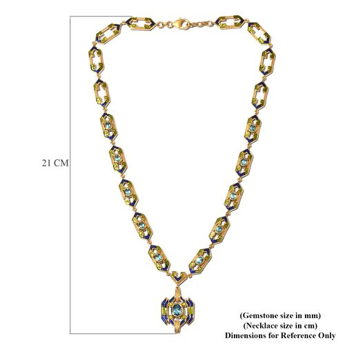Electric Blue Topaz Enamelled Necklace (Size 18) in 14K Gold Over Sterling Silver 6.00 Ct, Silver wt. 28.00 Gms