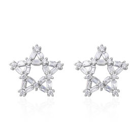 ELANZA Simulated Diamond (Bgt) Star Stud Earrings (with Push Back) in Rhodium Overlay Sterling Silver