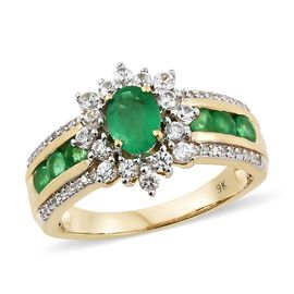 Limited Edition- 9K Yellow Gold AAA Premium Santa Terezinha Emerald (Ovl), Natural Cambodian Zircon Ring 2.350 Ct.Gold Wt 5.50 Gm