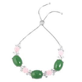 Green Jade (Ovl 33.75 Ct), Pink Mother of Pearl Bracelet (Size 6.5 to 9) in Rhodium Overlay Sterling