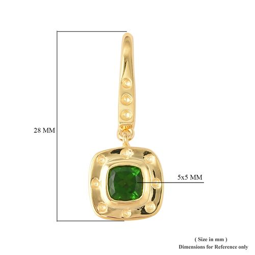 RACHEL GALLEY Majestic Collection Russian Diopside (Cush), Burmese Ruby Hook Earrings in Yellow Gold Overlay Sterling Silver 1.28 Ct.