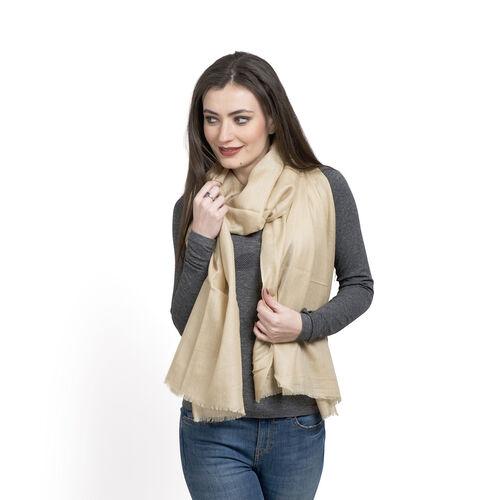 100% Cashmere Wool Cream Colour Shawl (Size 200x70 Cm)