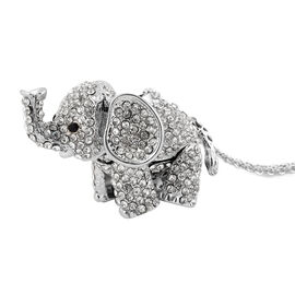 Black Austrian Crystal and White Austrian Crystal Elephant Pendant with Chain (Size 24) in Silver To
