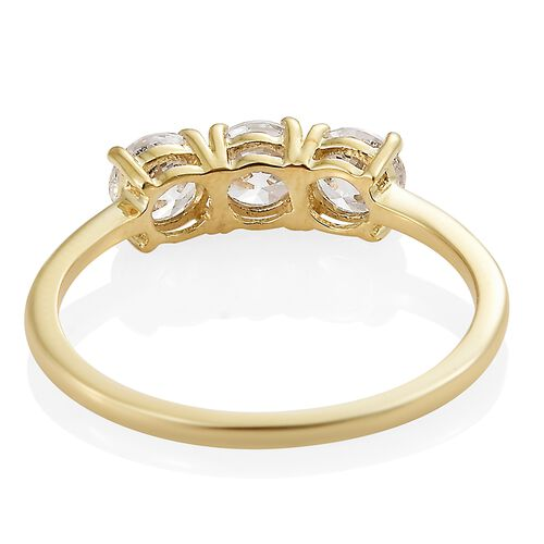 J Francis - 9K Yellow Gold (Rnd) Trilogy Ring Made with SWAROVSKI ZIRCONIA