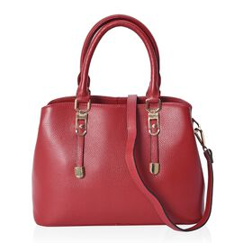 100% Genuine Leather Tote Bag with Detachable Shoulder Strap (Size 32x24x12 Cm) - Red