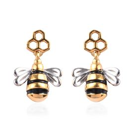 Platinum and Yellow Gold Overlay Sterling Silver Enamelled Bee Earrings (with Push Back)
