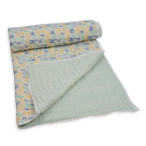 100% Cotton Hand Block Printed Green, Blue and Yellow Colour Animals and Polka Dot Pattern White Col