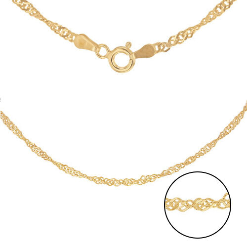 14K Gold Overlay Sterling Silver Twisted Curb Chain (Size 20)