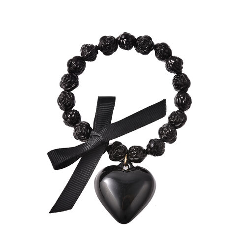 3 Piece Set - STRADA Japanese Movement Watch Simulated Black Agate, White Austrian Crystal and Multi Gemstone Beaded Bracelets with Heart and Feather Charm in Gold Tone