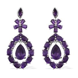 Designer Inspired- Lusaka Amethyst (Pear) Floral Earrings (with Push Back) in Platinum Overlay Sterl
