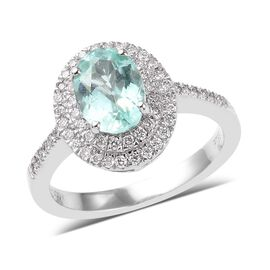 RHAPSODY 950 Platinum AAAA Mozambique Paraiba Tourmaline (Ovl 8x6mm), Diamond (VS/E-F) Ring 1.58 Ct,