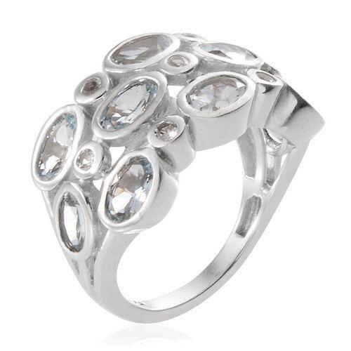 Espirito Santo Aquamarine (Ovl), White Topaz Ring in Platinum Overlay Sterling Silver 3.750 Ct.