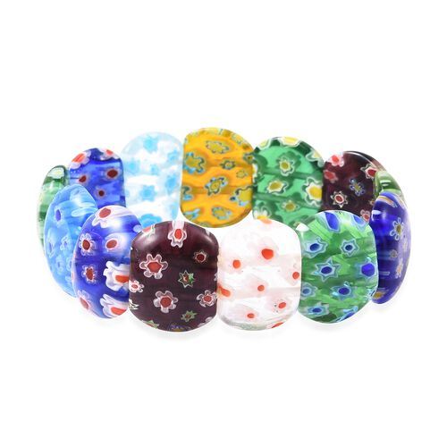 Multi Colour Murano Glass Stretchable Beads Bracelet (Size 7)