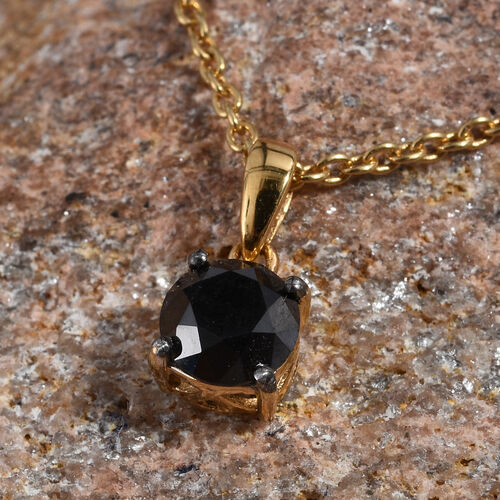 Black Diamond (Rnd) Solitaire Pendant With Chain (Size 18) in 14K Gold Overlay Sterling Silver 1.000 Ct