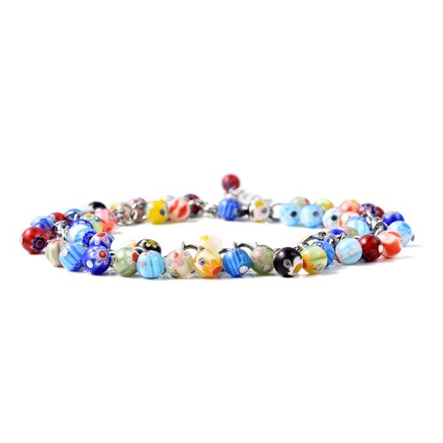 Multi Colour Murano Style Glass (Rnd) Beads Anklet (Size 9 with 2 inch Extender and Lobster Lock) in Stainless Steel.