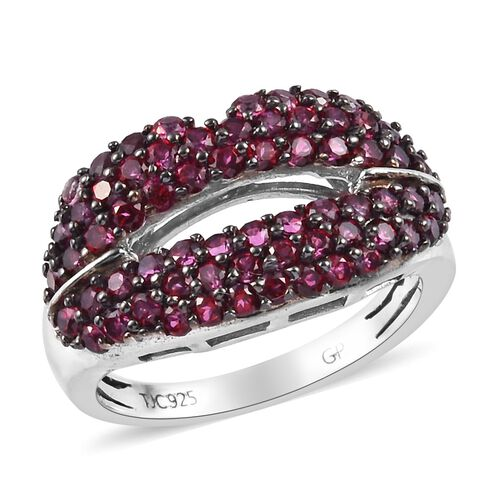 GP Signity Blazing Red Topaz and Blue Sapphire Lips Cluster Ring in Platinum Overlay Sterling Silver