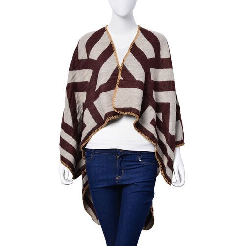 Dark Brown and Cream Colour Stripe Pattern Reversible Poncho (Size 130x60 Cm)