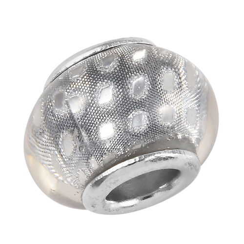 Charmes De Memoire Silver Grey Murano Style Glass Bead Charm in Platinum Overlay Sterling Silver