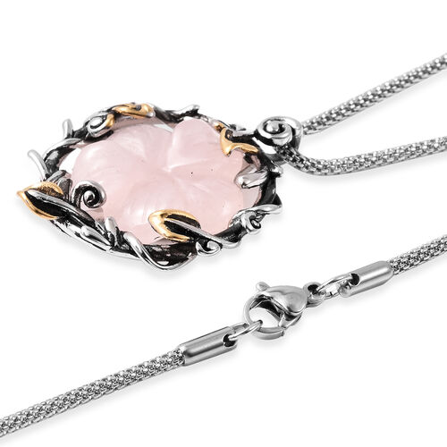 Rose Quartz Carved Floral Necklace (Size 20) in Stainless Steel 10.00 Ct.
