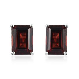 9K White Gold (Oct) Mozambique Garnet Solitaire Stud Earrings (with Push Back) 2.40 Ct.