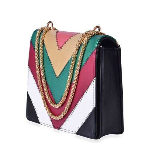 Alexa V Pattern Crossbody Bag with Chain Strap (Size 24x19x5.5 Cm)
