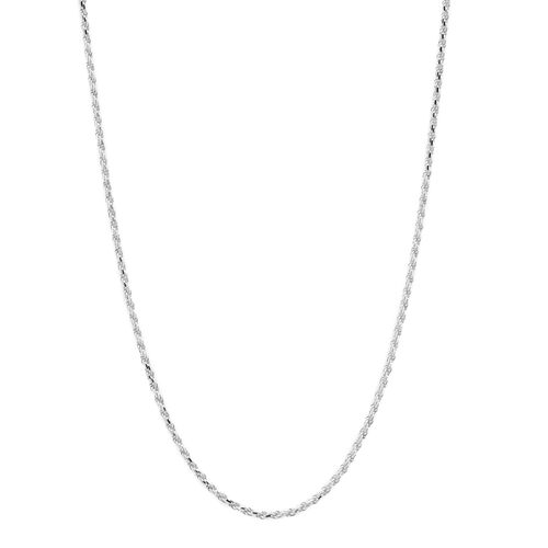 JCK Vegas Collection Diamond Cut Rope Chain in Rhodium Plated Silver Size 24 Inch