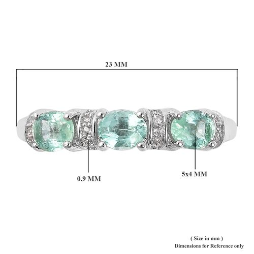 Boyaca Colombian Emerald (Ovl) and Natural White Cambodian Zircon  Ring in Rhodium Overlay Sterling Silver 1.10 Ct.