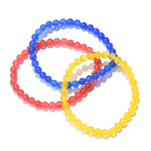 Set of 3 - Red, Blue and Yellow Quartzite Beads Bracelet (Size 7.50) 117.490 Ct.