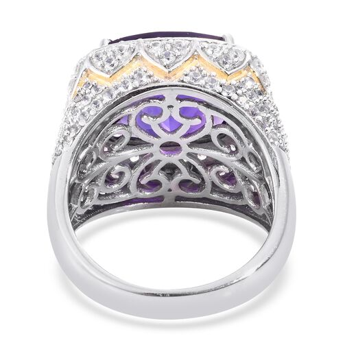 Lusaka Amethyst (Cush 10.20 Ct), Natural Cambodian Zircon Ring in Platinum Overlay Sterling Silver 12.750 Ct. Silver wt 9.30 Gms. Number of Gemstone 181