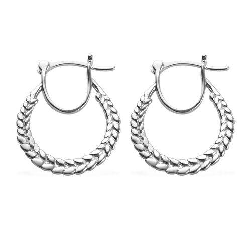 Platinum Overlay Sterling Silver Olive Leaf Hoop Earrings (with Clasp), Silver wt 3.77 Gms