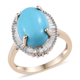 9K Yellow Gold AAA Arizona Sleeping Beauty Turquoise (Ovl 14x10 mm), Diamond Ring 5.250 Ct.Gold Wt 4