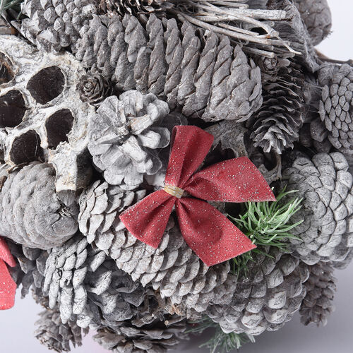 Christmas Decor Pinecones Drop Shot Embellished with Bowknot, Lotus Root and Leaves (Size 24x24cm)