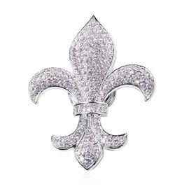 White Austrian Crystal (Rnd) Fleur de lis Brooch in Silver Plated.
