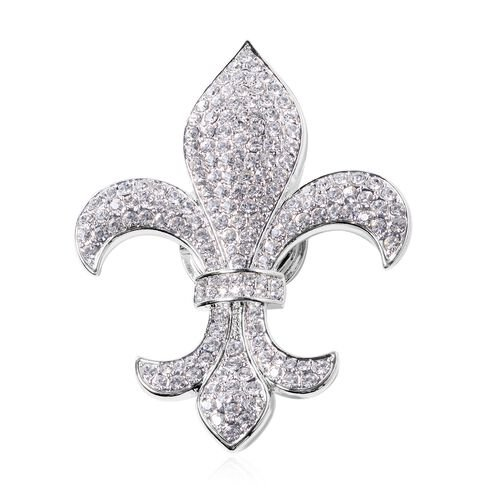 White Austrian Crystal (Rnd) Fleur de lis Brooch in Silver Plated.