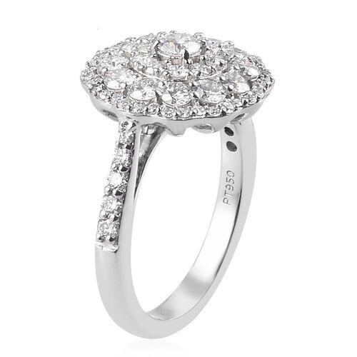 RHAPSODY 950 Platinum IGI Certified Diamond (VS/E-F) Cluster Ring 1.50 Ct, Platinum wt. 5.00 Gms