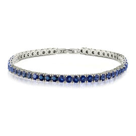 One Time Mega Deal- Simulated Blue Sapphire (Rnd 4mm, 10 Ct Equivalent) Tennis Bracelet (Size 8) in