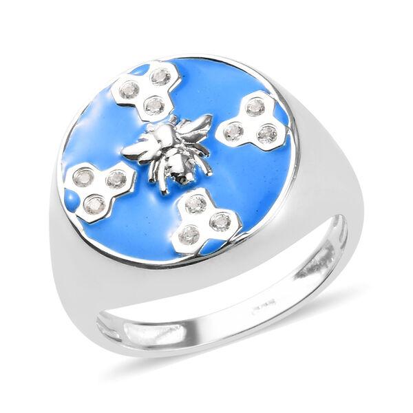 Zircon Enamelled Bee Ring in Sterling Silver