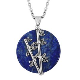 One Time Deal- Lapis Lazuli (Rnd) Nature Inspired Pendant With Chain (Size 20) in Silver Plated 50.000 Ct
