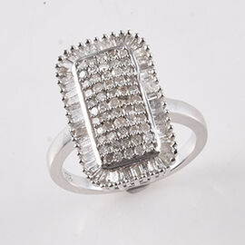 Diamond (Rnd and Bgt) Cluster Ring in Platinum Overlay Sterling Silver 1.00 Ct, Number of Diamonds 1