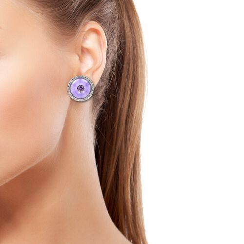 Purple Jade (Rnd 16 mm), Natural White Cambodian Zircon and Amethyst Earrings (with French Clip) in Rhodium Overlay Sterling Silver 14.30 Ct, Silver wt 6.18 Gms