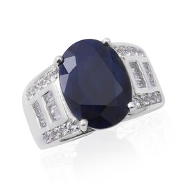 9.12 Ct Blue Sapphire and White Topaz Cluster Ring in Rhodium Plated Silver 5.70 Grams